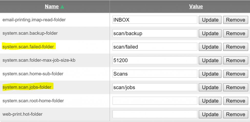 PaperCut scanning folder config