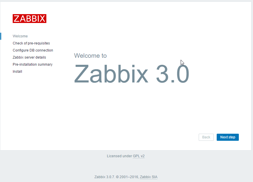 Step 8 - Finish Zabbix install