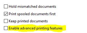 Disabling Advanced Printing Features