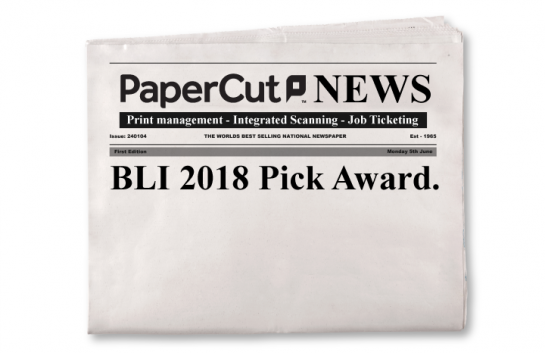 BLI 2018 Pick Award PaperCut!
