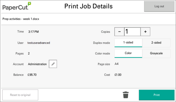 Print job settings become available to Kyocera devices